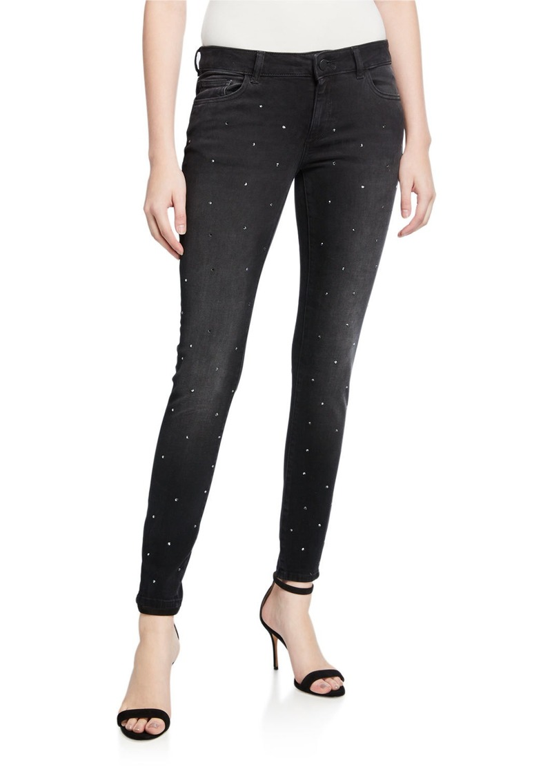DL 1961 Emma Low-Rise Skinny Ankle Jeans with Rhinestones
