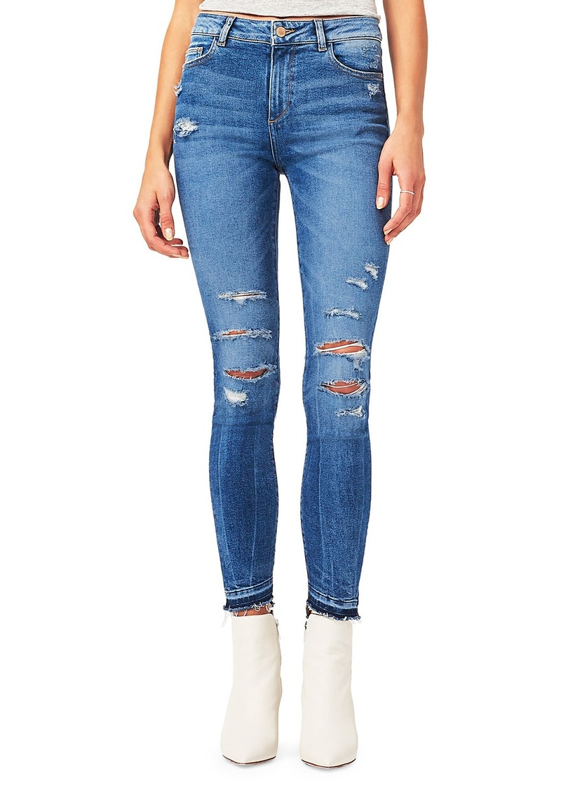 DL 1961 Farrow Distressed Released-Hem Skinny Jeans