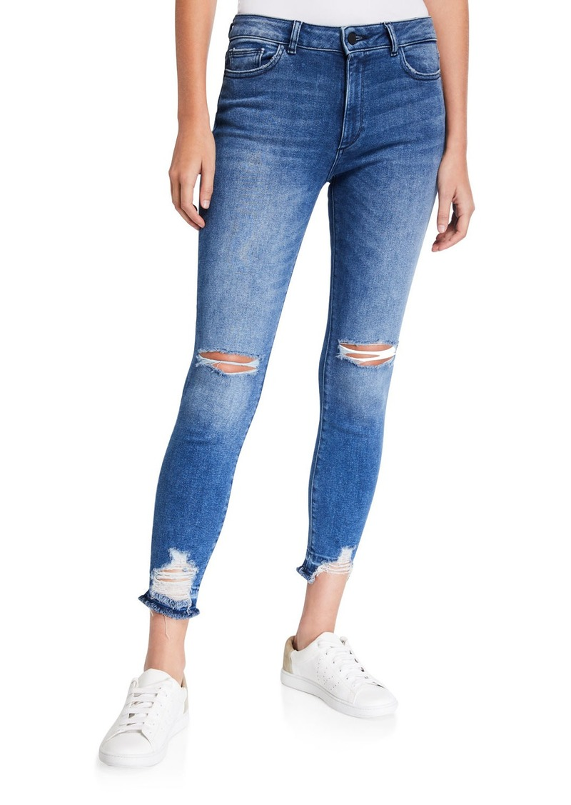DL 1961 Farrow High-Rise Distressed Ankle Skinny Jeans