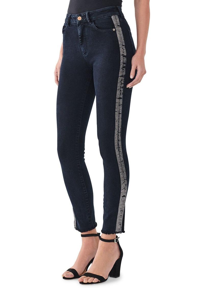 DL 1961 Farrow Tux-Stripe Ankle High Rise Skinny Jeans