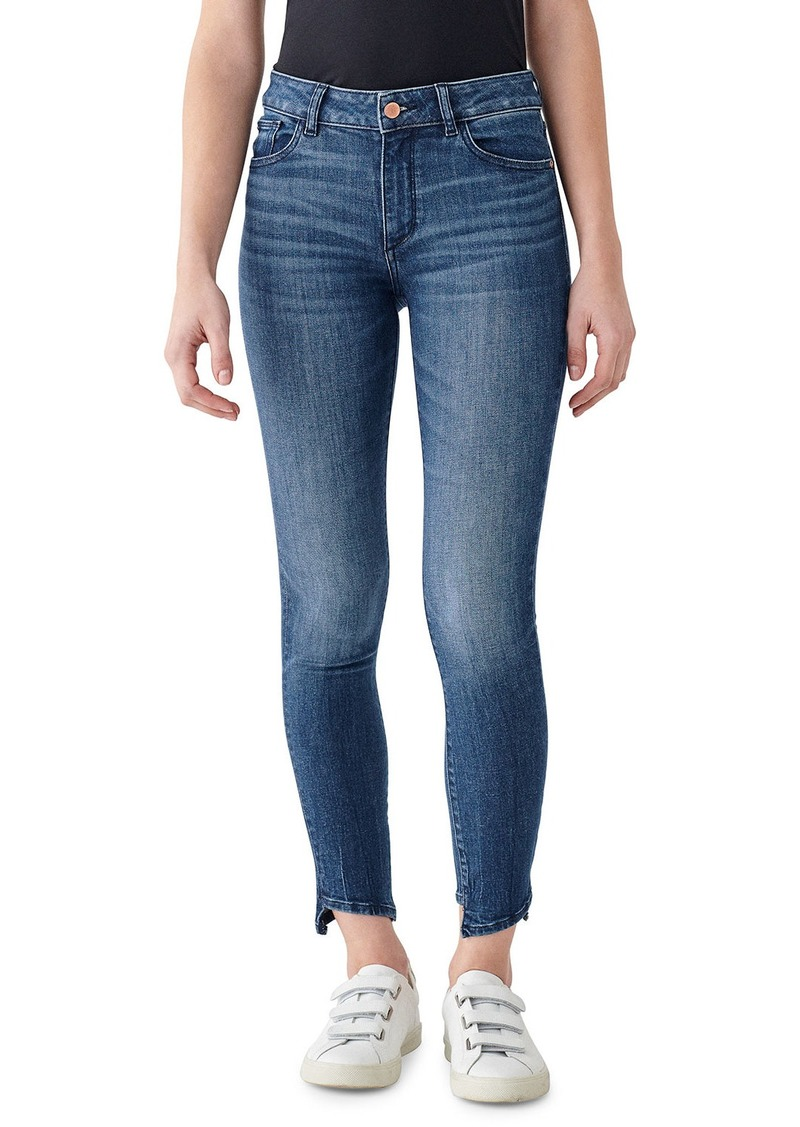 DL 1961 Florence Ankle Mid Rise Skinny Jeans with Hem Detail