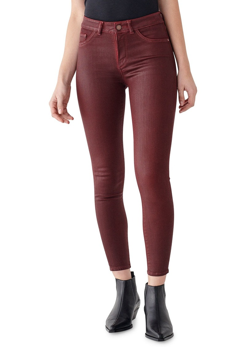 DL 1961 Florence Coated Ankle Mid Rise Skinny Jeans