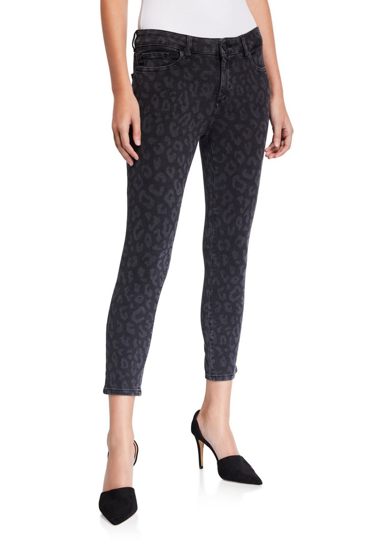 DL 1961 Florence Cropped Animal-Print Skinny Jeans