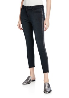 DL 1961 Florence Cropped Mid-Rise Skinny Jeans with Side-Stripes