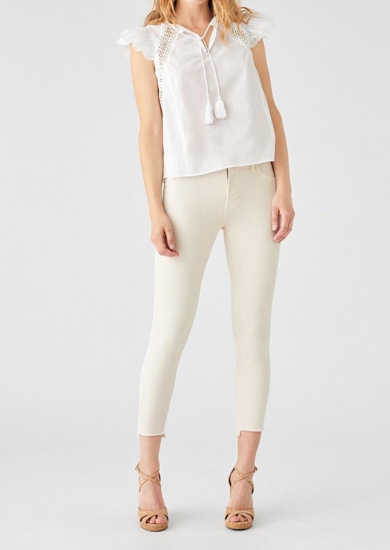 DL 1961 Florence Frayed Hem Crop Skinny Jeans