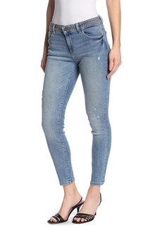 DL 1961 Florence Studded Distressed Mid Rise Ankle Crop Skinny Jeans