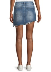 DL 1961 Georgia A-Line Asymmetric-Hem Denim Mini Skirt