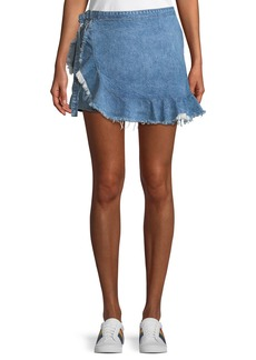 DL 1961 Hadley Frayed Denim Mini Skort