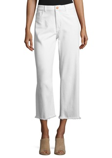 DL 1961 Hepburn High-Rise Cropped Wide-Leg Jeans  Eggshell