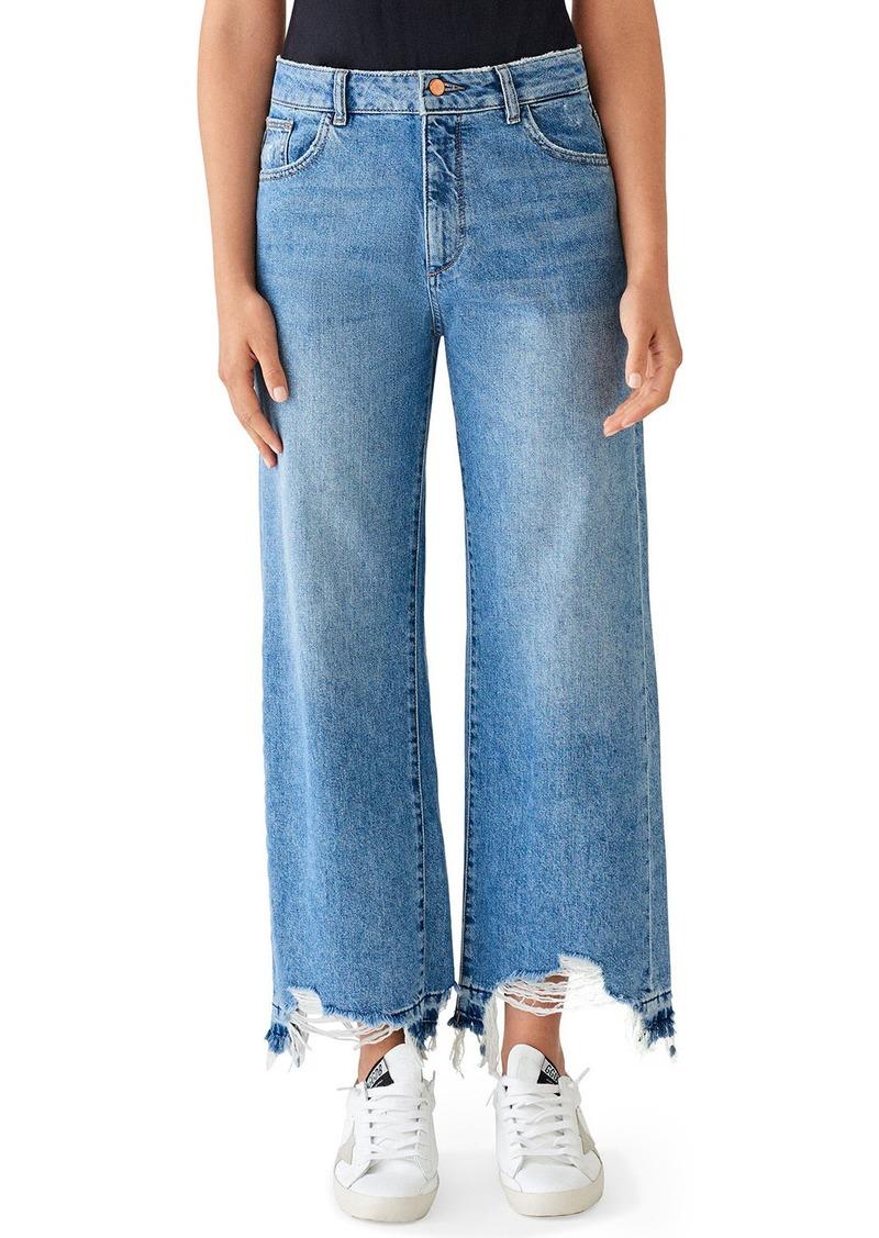DL 1961 Hepburn High-Rise Wide-Leg Jeans with Shredded Hem  Slate