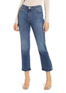 DL 1961 Mara Frayed Snap Ankle Crop Straight Jeans