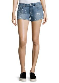 DL 1961 Renee Bleached-Spots Cutoff Denim Shorts  Indigo