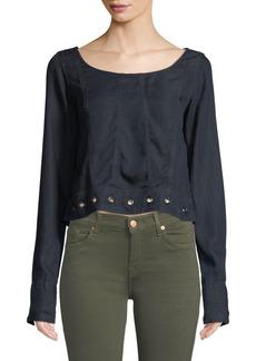 DL 1961 Suffolf Grommet-Trim Long-Sleeve Shirt