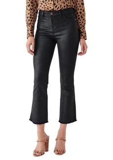 DL 1961 X Marianna Hewitt Instasculpt Bridget Coated High Waist Fray Crop Bootcut Jeans