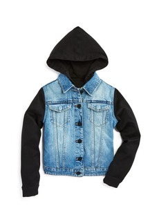 DL1961 Boys' Denim Jacket with Knit Sleeves & Hood - Big Kid