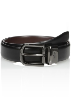Dockers Men's 1 1/4 Inch Feathered-Edge Reversible Belt with Gunmetal Buckle