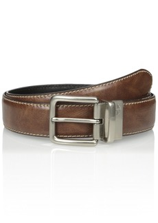 Dockers Men's 1 3/8-Inch Feathered Edge Reversible Belt with Brushed Buckle