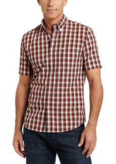 Dockers Men's 1 Pocket Fitted Fit Knox Plaid Shirt Rio red