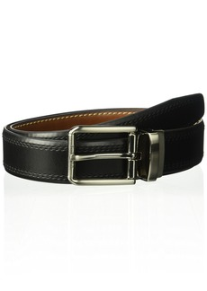 Dockers Men's 1.3 in. Wide Feather Edge Double Row Stitch Reversible Belt black/brown