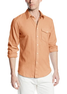 Dockers Men's Alpha Khaki Fitted Long Sleeve Shirt