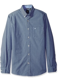 Dockers Men's Beached Poplin Long Sleeve Button-Front Shirt Dark