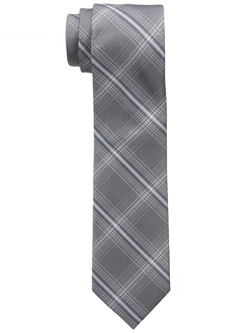 Dockers Men's Belden Place Plaid 100% Silk Tie Grey