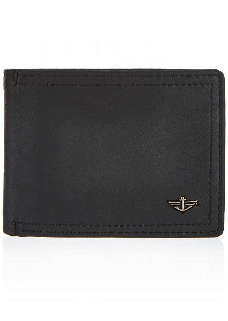 Dockers Men's Bifold Leather Wallet-Thin Slimfold RFID Blocking Security black jack