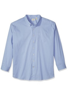 Dockers Men's Big and Tall Long Sleeve No Wrinkle Stretch Button-Front Shirt Delft Blue 2XL