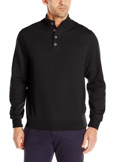 Dockers Men's Button Mock Soft Acrylic Sweater Midnight Black