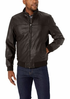Dockers Men's Carson Faux Leather Classic Stand Collar Bomber Jacket