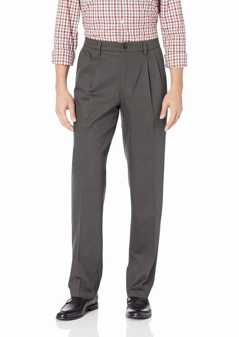 Dockers Men's Classic Fit Signature Khaki Lux Cotton Stretch Pants-Pleated steelhead