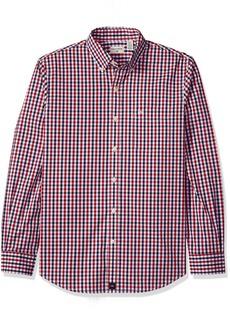 Dockers Men's Long Sleeve Button Front Shirt Dark Red