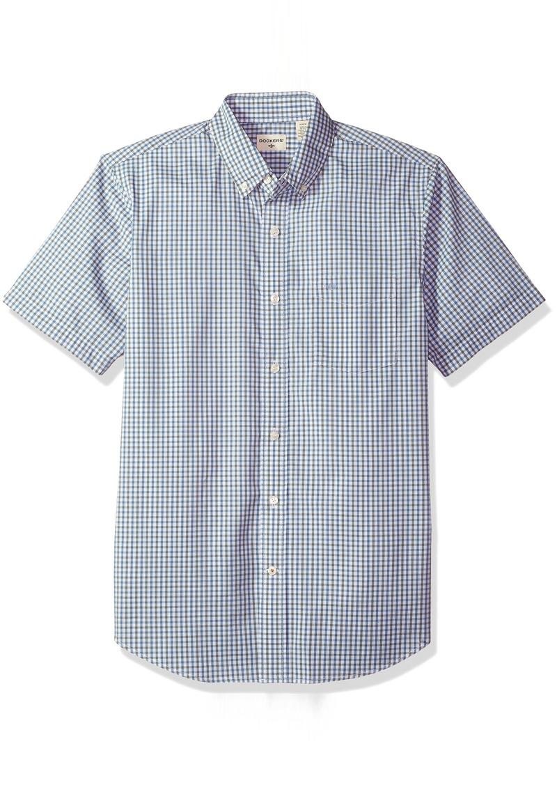 Dockers Men's Comfort Stretch Soft No Wrinkle Short Sleeve Button Front Shirt  M