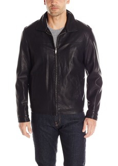 Dockers Men's Faux Leather Lay Down Collar Zip Front Jacket
