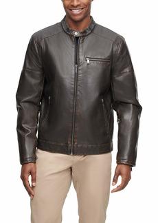 Dockers Men's Kyle Faux Leather Racer Jacket  SM