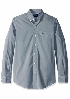 Dockers Men's Long Sleeve Button Front Comfort Flex Shirt Bruns Ocean Blue