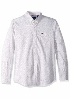 Dockers Men's Long Sleeve Button Front Comfort Flex Shirts Winetasting Pattern