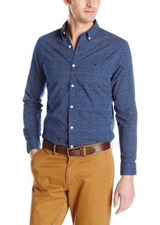 Dockers Men's Beached Poplin Long Sleeve Button-Front Shirt Estate Pure Blue