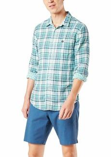 Dockers Men's Long Sleeve Double Cloth Shirt Cordes-Aqua Pool Plaid XXL