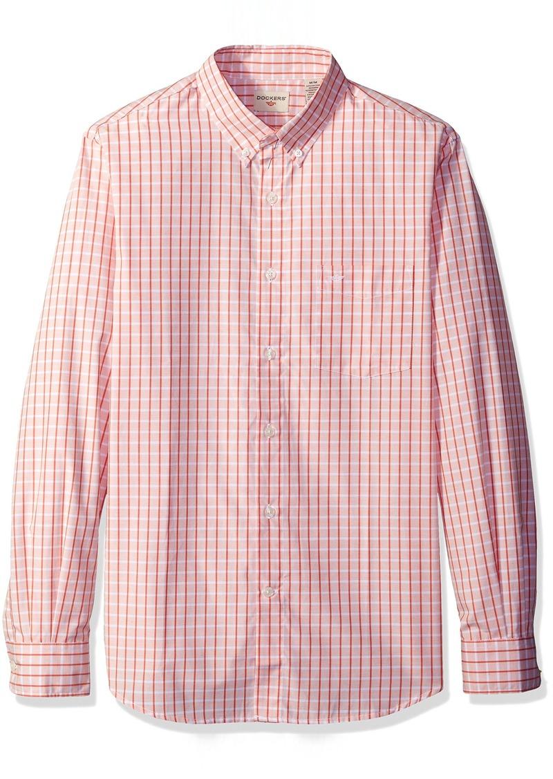 Dockers Men's Long Sleeve No Wrinkle Grid Button Down Collar Spade Pocket Shirt