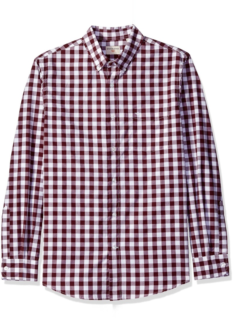 Dockers Men's Long Sleeve No Wrinkle Signature Gingham Button Down Collar Spade Pocket Shirt