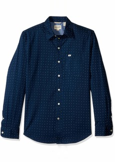 Dockers Men's Long Sleeve Original Washed Shirt Eaves poplin Ocean
