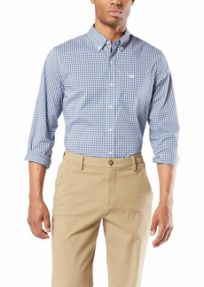 Dockers Men's Long Sleeve Signature Comfort Flex Shirt Earley Blue S