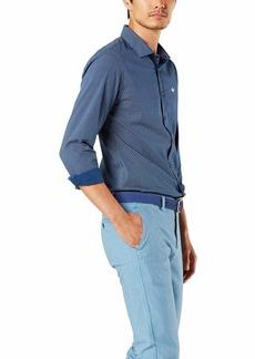 Dockers Men's Long Sleeve Slim Poplin Woven Shirt Estate Blue - White specks XXL