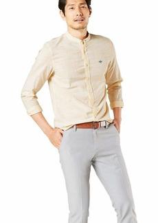 Dockers Men's Long Sleeve Slub Band Collar Woven Shirt  XXL