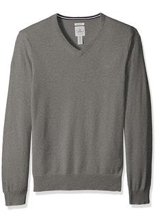 Dockers Men's Long Sleeve V-Neck Cotton Sweater  Grey