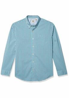 Dockers Men's Long Sleeve Woven Shirt Island Teal - gingham plaid XXL