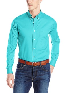 Dockers Men's No Wrinkle Long Sleeve Button-Front Shirt  Blue