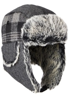 Dockers Men's Plaid and Herringbone Mixed Media Trapper Cap with Faux Fur Lining Charcoal SMALL/MEDIUM