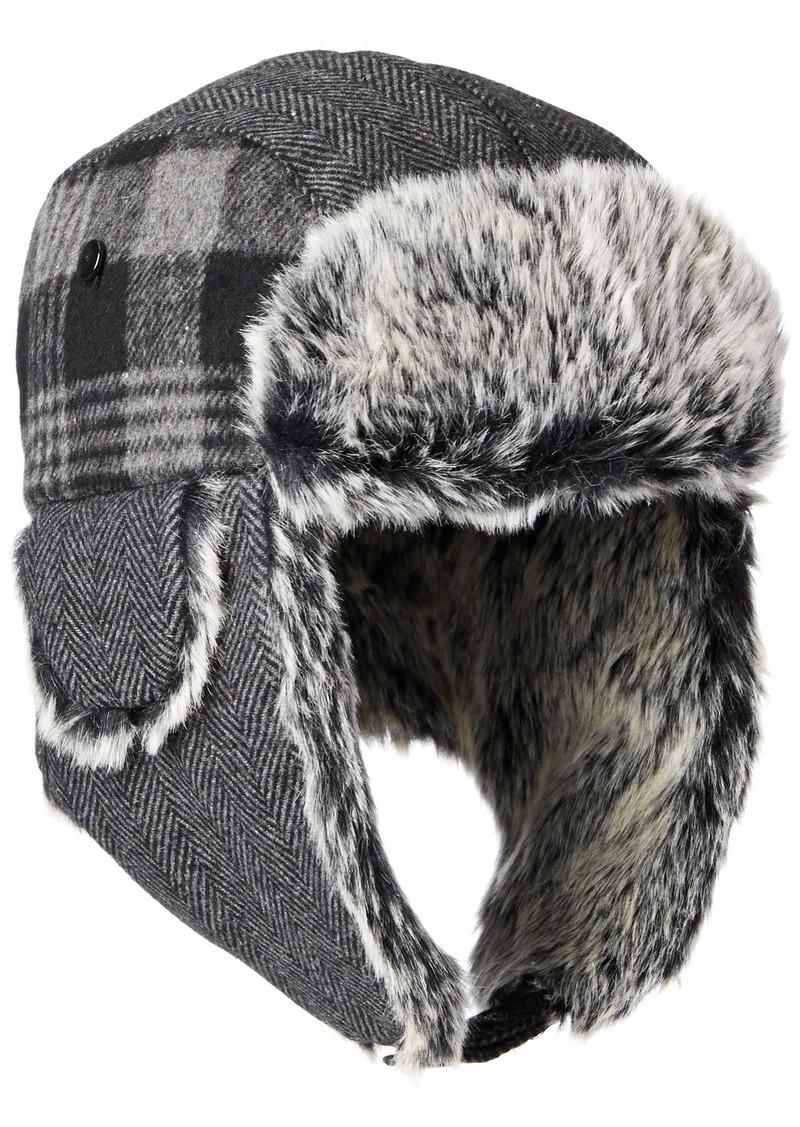 Dockers Men's Plaid and Herringbone Mixed Media Trapper Cap with Faux Fur Lining Charcoal SMALL/MEDIUM